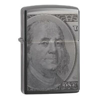 Zippo 49025 Benjamin $100 Money C-Note Black Ice NEW in box Windproof Lighter