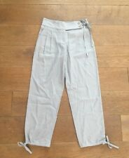 New Womens Ex High Street Grey Linen Cargo Trousers Ankle Trousers Size 10