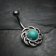 Belly Button Ring Tribal Turquoise Sun