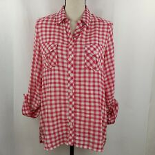 C&C California Small Shirt Women's Pink White Check Top High Low Pockets L/S