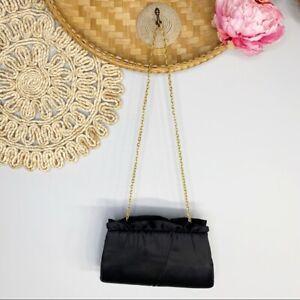Unbranded Vintage Satin Gold Chain Shoulder Evening Bag Clutch Black