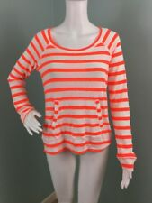 NWT Womens Splendid White Neon Orange Striped Thermal Shirt Top Sz L Large