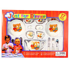 17-Piece Pretend Play Porcelain Dishes Flatware Dining Tea Set New