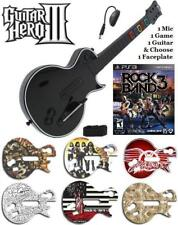 NEW PS3 Guitar Hero III Les Paul Controller w/ Dongle & Rock Band 3 Game Bundle