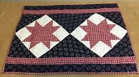 Patchwork Quilt Wall Hanging, Star, Navy Blue, White, Cranberry, Country Calciso