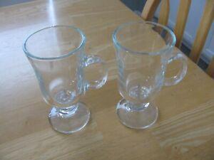 2 Irish Coffee Mugs Clear Glass Pedestal Footed 8 Oz Cup Mug