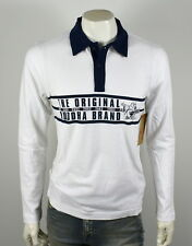 04e03c6fc60 Men True Religion Stripe Buddha LNG Sleeve White Navy Rugby Polo Shirt Large