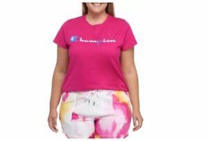 CHAMPION Classic logo cotton women's t-shirt top tee -Fuchsia- 3X (Plus size)