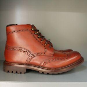 Loake Glendale Brogue Boots 7 ½ G, Conker Calf, Commando Soles (A06)