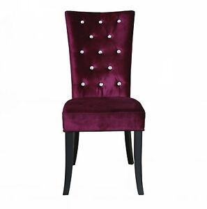 Pair of Purple Crushed Velvet Dining Chairs Luxury Fabric Diamante Stud Detail
