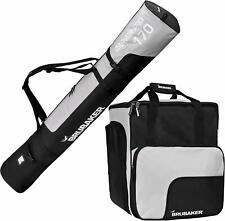 BRUBAKER Combo Ski Bag and Ski Boot Bag Black Silver 170cm Padded Shoulder Strap