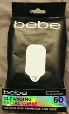 New in Pack Bebe Facial Cleansing Wipes Charcoal & Rose 60 Ct Face Wipes