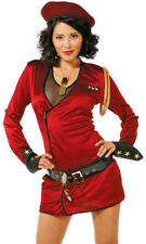 Womens Red Military Army Lieutenant Soviet Union Fancy Dress Costume