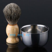 Best BADGER Hair Shaving Brush + Shinning Double Layer Stainless Steel Bowl Cup