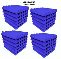 Blue Acoustic Foam 48 Pack 12x12x2 Wedge Professional Studio Soundproofing
