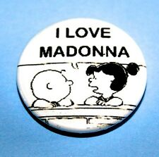 I LOVE MADONNA SNOOPY PEANUTS INSPIRED BUTTON PIN BADGE