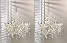 2 Shabby Chic Chandelier Lighting Lamp Hanging Crystal Candle Holder Wedding