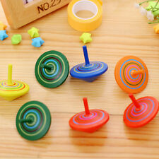 2x Wooden Gyro Spinning Top Peg-Top Cartoon Multicolor Kids Educational Toys0