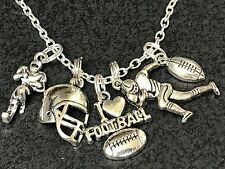 "Football Players 5 Charms Tibetan Silver 18"" Necklace"