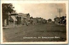 1908 GREENLEAF Kansas RPPC Real Photo Postcard COMMERCIAL STREET Downtown Scene