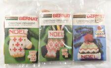 Bernat Christmas Ornament Needlepoint Kits Lot of 3 Mitten Stocking Hat Yarn Vtg