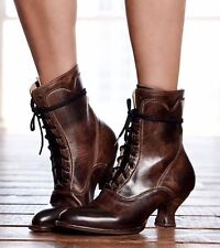 NEW Womens 9.5 Teak Brown Victorian Granny Boots