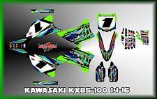 KAWASAKI KX80 KX85 KX100 SEMI CUSTOM GRAPHICS KIT 2014 AND UP