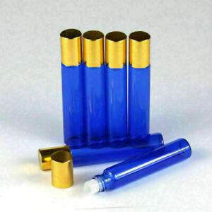 10ML 10Pcs Gold Cap Blue Glass Roller Bottles Glass Roller Ball Bottles Perfume