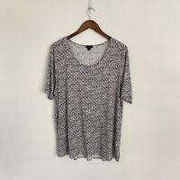 J Jill Wearever Collection XL Black Geometric Print Short Sleeve Scoop Neck top