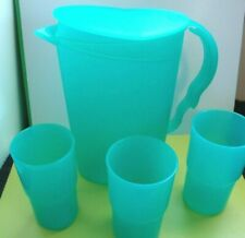 Tupperware 2 Qt Pitcher & 3 Aqua 12 oz Stackable Tumblers ~ Clean Condition
