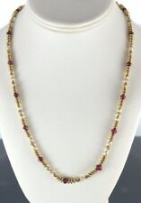 Vintage 14K Yellow Gold 18 Ruby Beaded 21'' Strand String Necklace