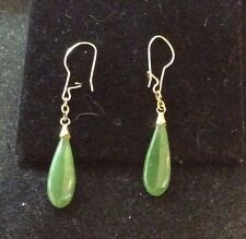 VINTAGE 14K YELLOW GOLD JADEITE DANGLE EARRINGS