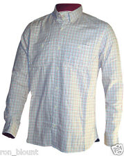 MEN'S NEXT 100% COTTON COLLARED CREAM/BLACK/RED CHECK SHIRT XS-XXL