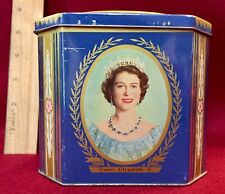 Eng. Queen Elizabeth II Coronation Blue Biscuit Tin Box Scotland 1953 Phillip