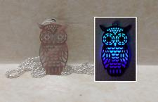 Filigree OWL GLOW IN THE DARK Aqua Blue Purple Charm Pendant Necklace Bird