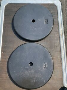 """WEIGHT PLATES 50 LBS QTY= 2 EACH BLACK IRON TOTAL 100 LBS 1"""" HOLE"""