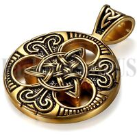 Stainless Steel Men's Vintage Gold Tone Celtic Irish Knot Pendant Necklace Chain