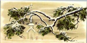 Ralph Hulett Disney Artist Pine Tree Church People VTG Christmas Greeting Card