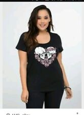 66616db6a87 Torrid Womens Knit Top Size 1 Solid Black Short Sleeve Polyester Skull  Lovers