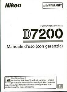 Nikon D7200 D-7200  manuale istruzioni Italiano, NUOVO,Originale