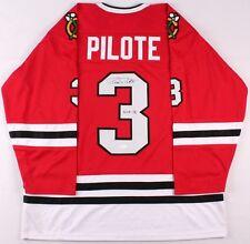 "Pierre Pilote Signed Blackhawks Jersey ""H.O.F. 75"" (JSA) Passed Away 09/09/2017"