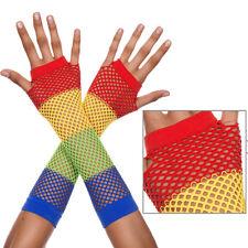 Rainbow Derby Mesh Fishnet Long Fingerless Gloves Rave Pride Halloween Costume