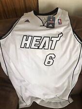 Addidas Miami Heat #6 Lebron James White Jersey New Size  2 XL