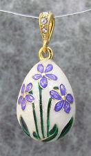 White Egg Pendant, Sterling Silver, Gold Plated & Swarovski Crystal, Flowers +F