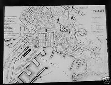 Glass Magic lantern Slide OLD MAP OF TRIEST C1900 ITALY