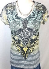 Angels and Diamonds Top Size Medium by Affliction Angel Wing Cross Womens Shirt