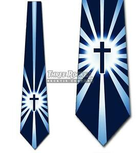 Shine on Me Navy Cross Necktie Religious Tie Mens Church Neck Tie NWT