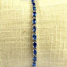 Natural Kyanite Gemstone 5x3 mm Oval Cut 925 Sterling Silver Tennis Bracelet