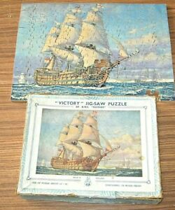 VICTORY Wooden 'HMS VICTORY' Jigsaw Puzzle OLD - 2 missing