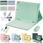 For iPad 5/6th 7/8th Gen Air Pro Keyboard Mouse With Flip Case Cover Pencil Slot
